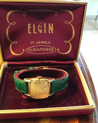 Mens Vintage Elgin 10k Rolled Gold Plated Watch with Premium Watch Band - Works