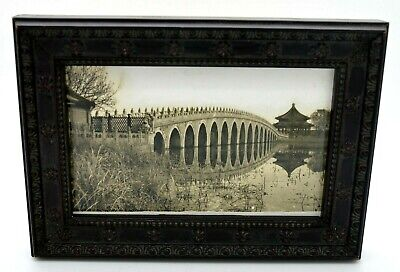 Antique Original Photograph Early 1900's Beijing CHINA 17 Arch Bridge Framed