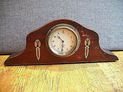 Antique 19th Century Smiths Car Clock Mounted in 19th Century Oak Mantel Casing