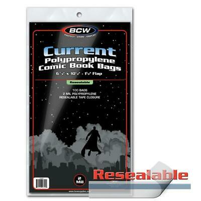 300 Bcw Current Resealable Modern Age Comic Book Poly Bags And Boards