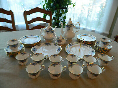 Royal Albert Bone China Moonlight Rose Luncheon Set for 12 W5 Serving Pieces 9-3
