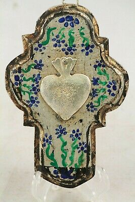Wood Hanging Cross/Milagros Mexican Folk Art Hand Crafted Silver Sacred Heart