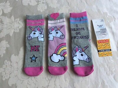 New Girls Primark Unicorn 3 Pairs Socks Age 3-6 / 9-12