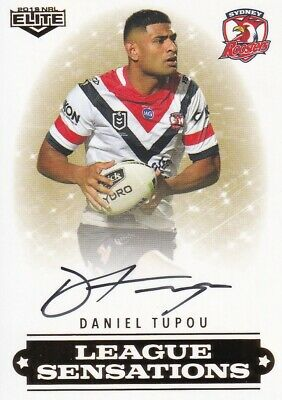 2019 Nrl Elite League Sensations Signature - Ls14 Daniel Tupou Roosters #46 / 90