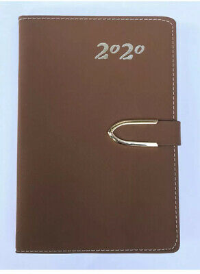 2020 Daily Planner Journal Calendar Organizer Tabbed, W/Closure BROWN 5x8