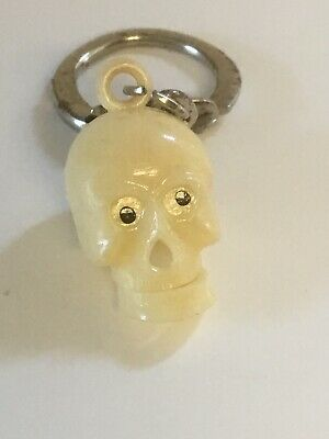 Vintage Plastic Skull w/ Moveable Jaw Keychain. Skeleton Head. Hong Kong.