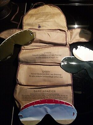 Vintage 1940's WW2 AAF Polaroid All Purpose Goggle Lenses No. 1021