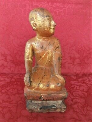 Buddha Disciple Sariputra 19th C. Carved Gilt Wood Statue Burmese Buddhist Art