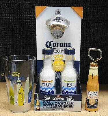 LOT Corona Extra Beer Surfboard Pint Glass Salt Wall Mounted Bottle Opener