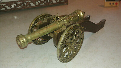 """VINTAGE BRASS CANNON MDLXX WOOD CART WITH WHEELS REPLICA 8"""" barrel"""