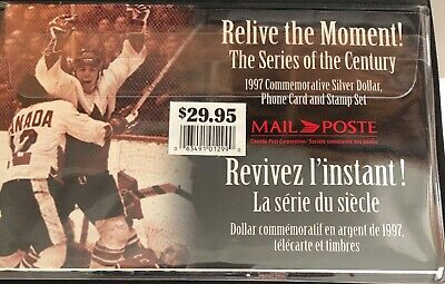 1997 Canada Commemorative Silver Dollar, phone Card and Stamp Set Hockey!