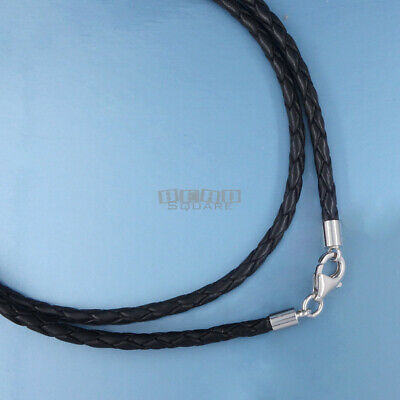 Sterling Silver 2.5mm Braided Genuine Leather Cord Necklace w/Lobster Claw Clasp