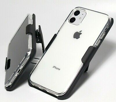 """For Apple iPhone 11 6.1"""" SHOCKPROOF CLEAR TPU Gel CASE with BELT CLIP HOLSTER"""