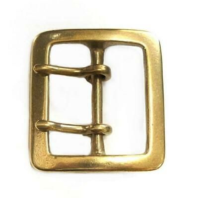 45mm Square Buckle Double Prong Solid Brass Old Leather Belt Smoky Sumi's Store