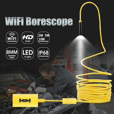 8LED WiFi Endoscope Borescope Inspection 1200P HD Camera IP68 For iOS Android PC