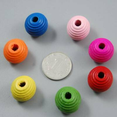 Mixed Color Stripe Round Wooden Beads Loose Spacer For Necklace Jewelry Making