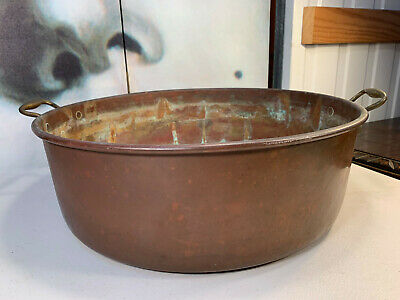 Large Antique English Country Kitchen Copper Brass Preserves Casserole Pan 55cm
