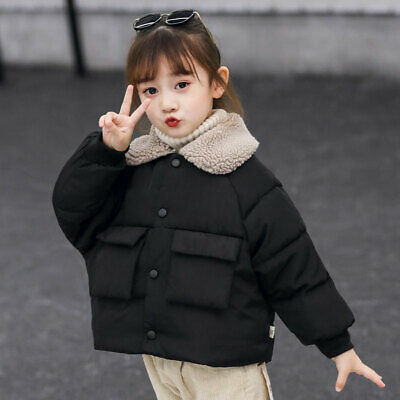 Kids Girls Coat Short Jackets Lapel Down Cotton Fur Collar Padded Casual Outwear