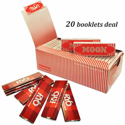 """Moon Red 1.0"""" 20 booklets 70*36mm Cigarette Rolling Papers Wood Papers & MA LEAF"""