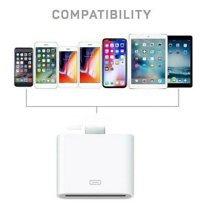 30 Pin Female To Apple Male Adapter Portable Converter For IPhone IPad Laptop US