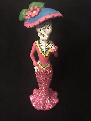 Day of the Dead Sugar Skull Dia De Los Muertos Catrina Figure - Pink