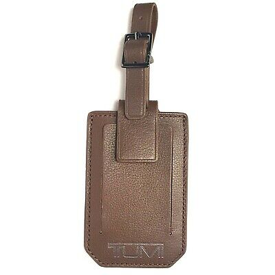 TUMI Nassau Stamped Buckle Brown Textured Leather Address Luggage Tag (MSRP $55)