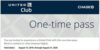 TWO United Airlines UA Club One-Time Pass- Quick E-Delivery- Exp 08/21/2020
