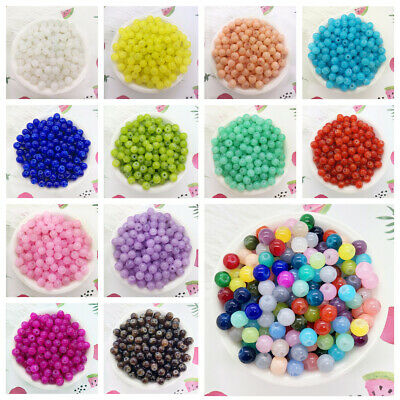 NEW DIY 4/6/8mm Glass Round Pearl Spacer Loose Beads Pattern Jewelry Making