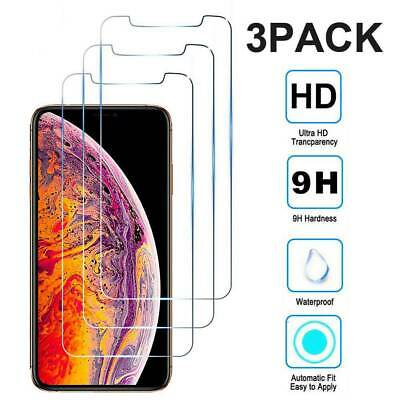 3-Pack For iPhone 11 Pro Max X XS XR 9D Premium Screen Protector Tempered Glass