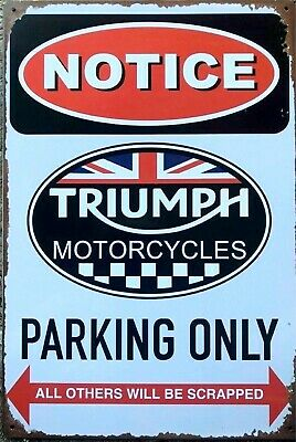 Triumph motorcycles Parking only brand new.  tin metal sign MAN CAVE