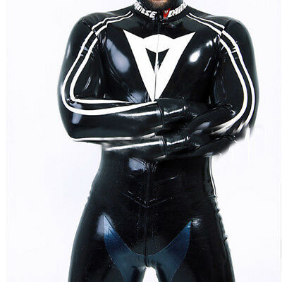 Latex Rubber Racing Suits Catsuit Weiß Schwarz Bodysuit Gummi Cool Ganzanzug