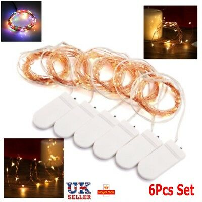 UK 2M 6 Pack Set 20 LED Battery Micro Rice Wire Copper Fairy String Lights Party