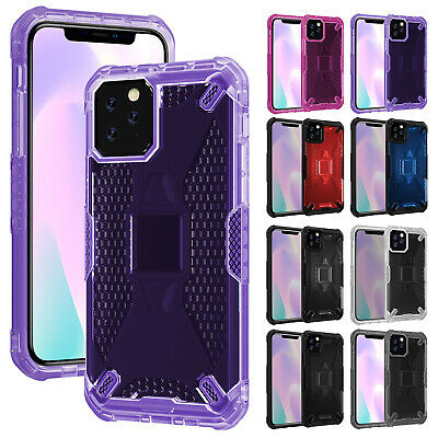 For iPhone 11 Pro Max XS XR 8+ 7 Case Shockproof Hybrid Clear Hard Stand Cover
