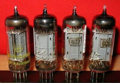 4 x 6CG7 Tubes (= minature 6SN7 ) .. Grey plt - silver shield .. Tested - Lot 2