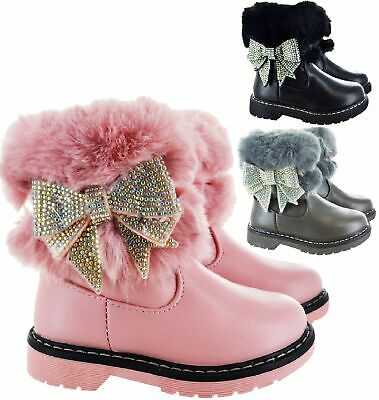 Kids Girls Children Warm Winter Faux Fur Lined Diamante Bow Ankle Snow Boots Sz