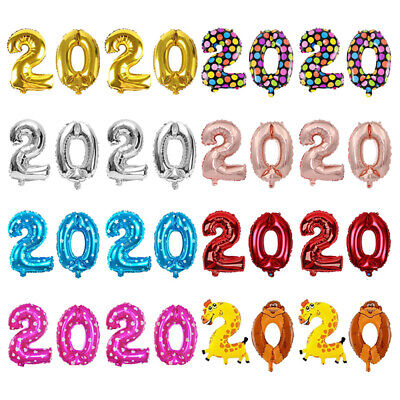 New Year DIY Gifts Helium Balloon 2020 Number Digit Air Balloons Aluminum Foil