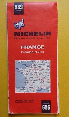 § carte MICHELIN 989 FRANCE grandes routes - 1969