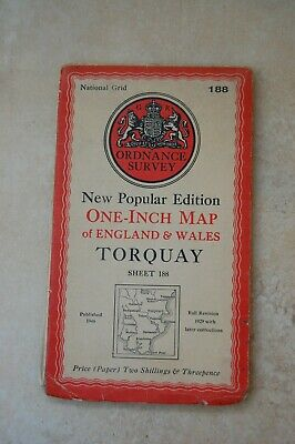 Vintage Ordnance Survey Map of Torquay, dated 1946