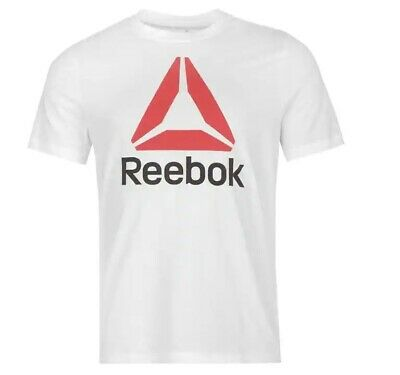 Mens White Reebok Delta Casual Short Sleeve Crew Neck T Shirt