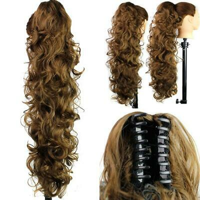 Jaw Ponytail Clip in Hair Extension Claw Pony Tail Wavy Curly Hairpiece On U9N2