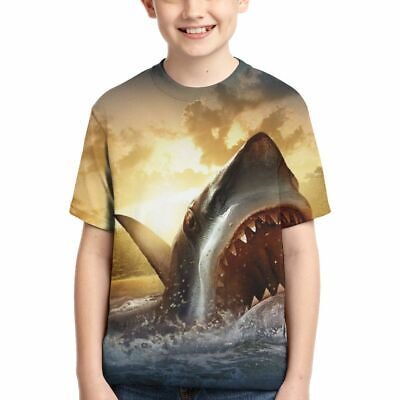 Cool Shark Short Sleeve Casual T-shirt Cool Top Tees Kids Teens Youth Boys Gifts