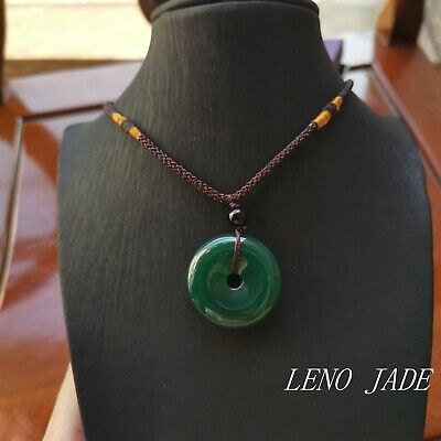Doughnut Chinese Untreated Natural Icy Green Jade Pendant
