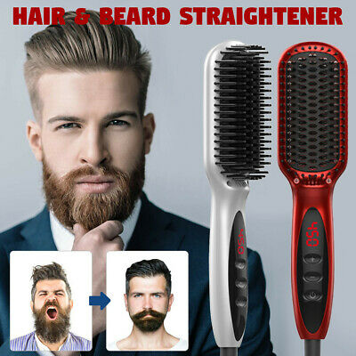 Electric Hair Beard Straightener Brush Straightening Ceramic Comb Quick Styling
