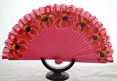 Spanish hand painted fan flamenco Hand painted large floral decoration wood fan