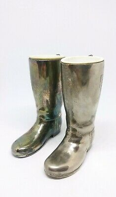 vintage silver plated Grenadier boot spirit measuring glasses with liners