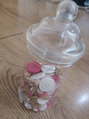 Sweet Jar  17cm tall With Craft Buttons And Fairy Pegs