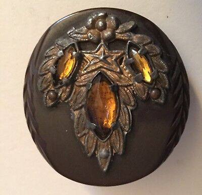 Carved Brown Bakelite Metal Foliate Amber Glass Jewels Large Old Button Vintage