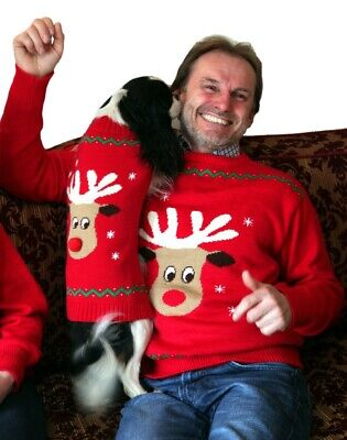 Animate Knitted Christmas Xmas Dog Jumper NEW (Matching Human Jumpers available)