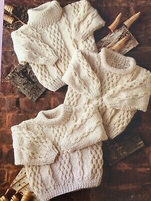 "R82 - KNITTING PATTERN / Child's Aran Sweater 3 Styles/16-24"" Chest/5 Sizes"