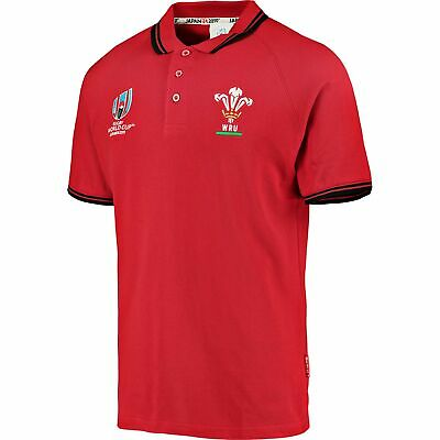 Fanatics Official Mens Rugby World Cup Wales Pique Polo Shirt Top Red